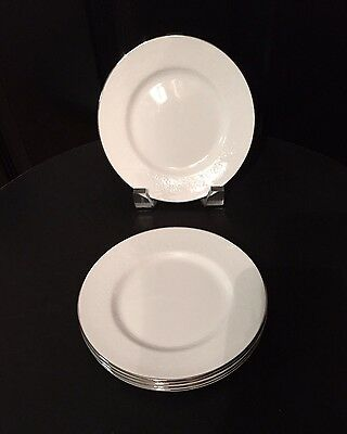 """MINT Set Of 5 WEDGWOOD Bone China SILVER ERMINE R4452 Bread & Butter PLATES 6"""""""