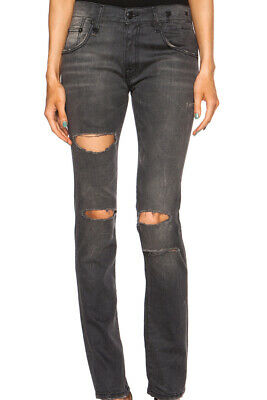 R13 NEW ALLISON Crop Curtis Black Waxed Jeans Cotton