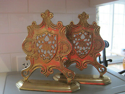 Vintage Ornate Decorative Coat Of Arms Style Solid Brass Bookends Office Library