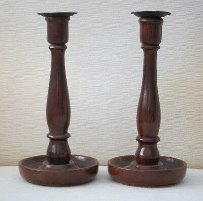 """Vintage Pair Of Stylish Wooden Candlesticks 9.5"""" Tall"""