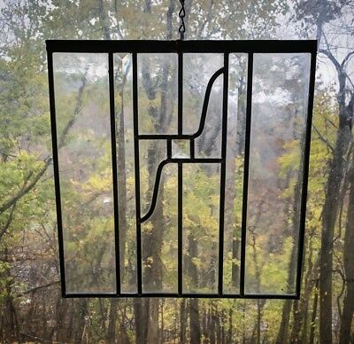 Architectural Salvage Leaded Stained Glass-Textured Clear Glass, Beveled Glass