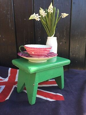 Petite Green Painted Vintage Wooden Milking Stool / Plant Stand