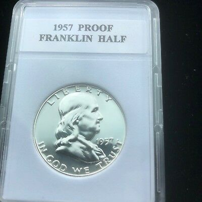 """1957- Proof Franklin Half Dollar With """"Mint Luster"""" New Holder"""