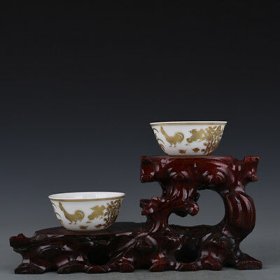 A Pair China old antique Porcelain Ming Chenghua gilt Chicken jar Cup