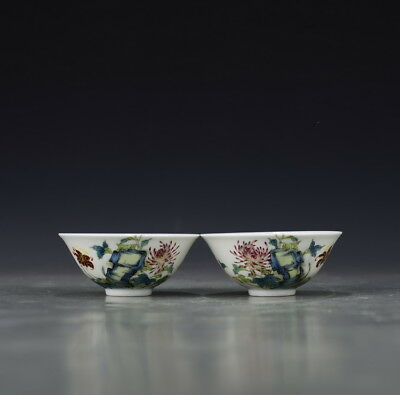 A Pair China old antique Porcelain Qing Yongzheng famille rose Chrysanthemum Cup