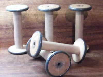 Set 5 Large Antique Vintage Shabby Factory Industrial Chic Cotton Reels Bobbins