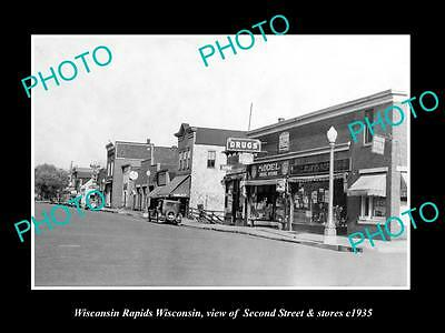 OLD LARGE HISTORIC PHOTO OF WISCONSIN RAPIDS WI, VIEW OF 2nd ST & STORES c1935