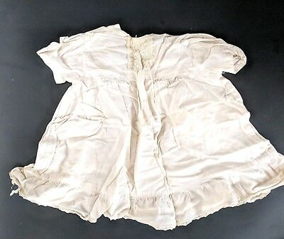 Antique Baptism Christening Lace Gown Baby Doll Dress Puff Sleeves