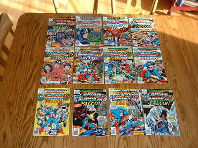 """Vintage Marvel """"CAPTAIN AMERICA and the FALCON"""" Comic Books Lot Of (12) 1970's"""
