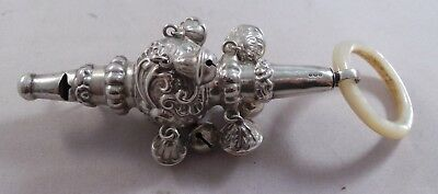 Very Nice Antique Sterling Silver 8 Bell Baby Rattle 1907