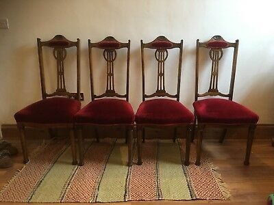 Ornate Carved Antique Edwardian Art Nouveau Dining Chairs In Red Velvet