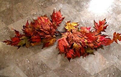 """Home Interiors Autumn Leaves Swag Red/Orange Wall Decor Accent 35"""" Long"""