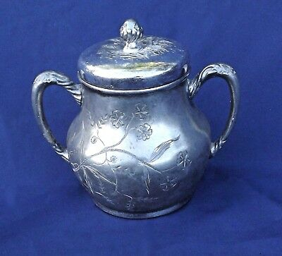 Vintage container, Pairpoint, Signed Quadruple Plate Sugar Bowl with Lid
