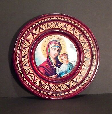 Orthodox Icon Greek Byzantine Virgin Mary with Child on Round Hand Carved Wooden