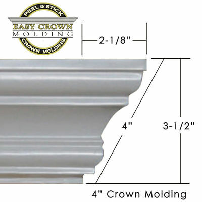 """4"""" Peel & Stick Easy Crown Molding 156' Kit makes includes all corners. 2 rooms"""