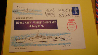 MARITIME COVERS -  1971 - Maritime Mail + cachet carried on HMS Rapid   rare