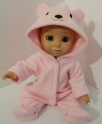 "17"" Teddy Onezie Handmade Pink Or Blue To Fit  Luvabella Or Luvabeau"