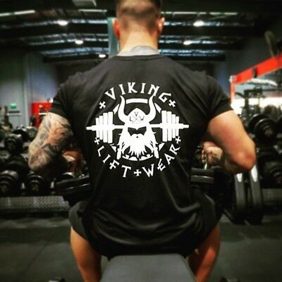 Mens Workout Shirt Men Muscle Tee Fitness Clothing Bodybuilding Gym T-Shirt US