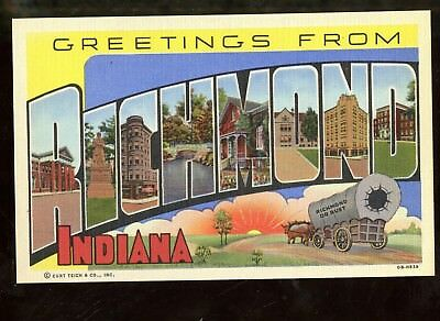 T271 Teich Large Letter Linen Postcard Richmond Virginia Indiana IN Greetings