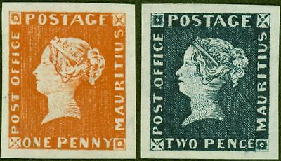 """Mauritius 1847 """"POST OFFICE"""" 1d and 2d in Orange-Red and Deep Blue SG1 and SG2 R"""