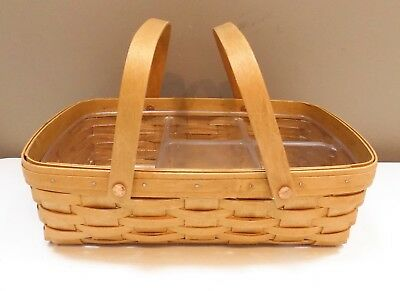 Longaberger 2003 Small Gathering Basket + 5-Way Protector - Signed By 3 Family