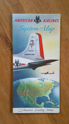 1950s Vintage American Airlines Flight System Map Airplane Art Poster EXCELLENT