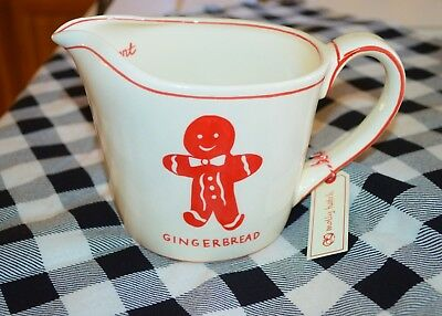 NWT Molly Hatch cream and red ceramic gingerbread 1 qt measuring cup