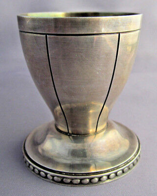 HEAVY ANTIQUE FANCY ART DECO BEADED LINE STERLING BB EGG CUP 54.7g