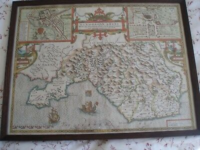 Antique map of 'Glamorgan-Shyre.......' by John Speed ; hand-coloured