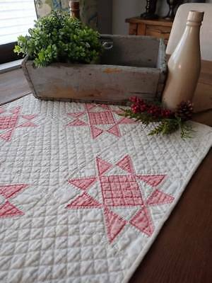 Stunning Quilting! Antique Faded Red & White Star Table Quilt RUNNER 26x18