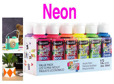 12 Paint Set 2oz Decoart Crafters Acrylic Neon Colour Art Craft Water Based Gift