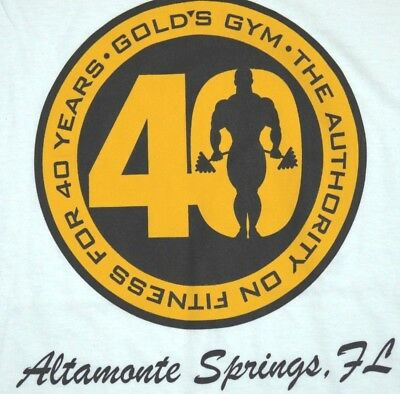 VINTAGE 90s GOLD'S GYM t shirt Altamonte Springs FL 40 year MADE IN USA mens xl