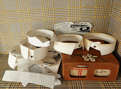 12 vintage shirt collars studs in laundry box starched and semi-stiff Nostalgia