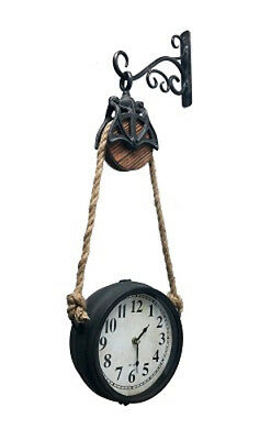 Farmhouse Clock Farm Pulley Wall  Bracket Double Sided Hangs with Rope