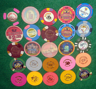 Lot Of 25 Various Denomination Casino Chips-Mostly Ca & Nv-Take A Look!