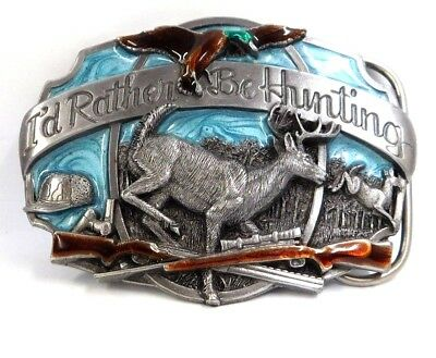 """""""I'D RATHER BE HUNTING"""" Belt Buckle ©1987 Siskiyou Buckle Co. Williams, OR"""