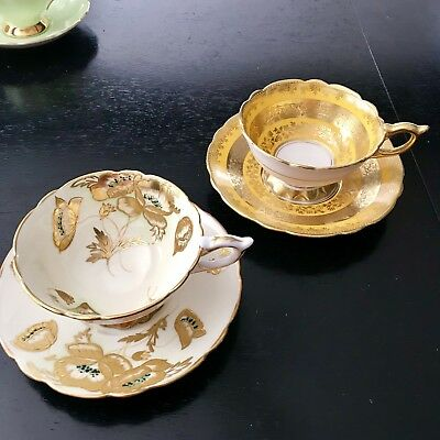 2 Royal Stafford Tea Cups Poppies Heavy Gold