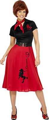 50s Style Poodle Costume, Red, with Dress, Scarf and Belt -  (Size:.. COST-W NEW