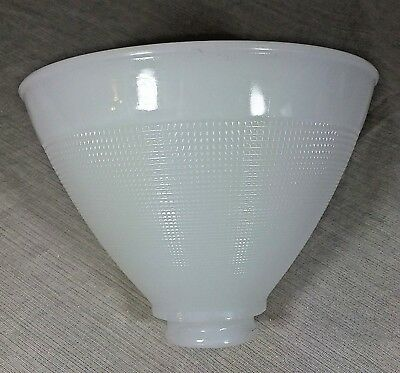 """Vintage White Milk Glass Lamp Shade Large Cone Waffle Torchiere 2 1/4"""" Fitter"""
