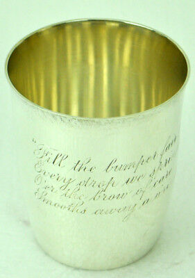Vintage Gorham Sterling Silver Cup Beaker with Case and Motto NR
