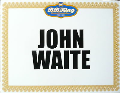 John Waite Nyc Dressing Room Card
