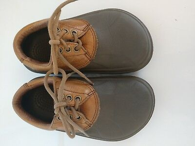 59d05e35c Crocs Axel All Terrain Kids Boy Girl Tan Leather Brown Rubber Lace Up Shoes  EUC!