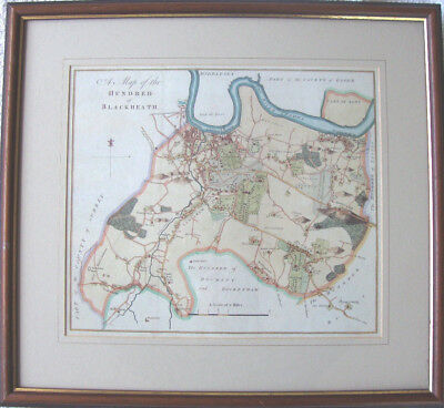 A Map of the Hundred of Blackheath 1778 by Edward Hasted - Mounted and Framed