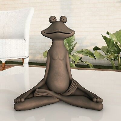 Garden Frog Statue Zen Meditating Sitting Figurine Lawn Ornament 7 In Outdoor