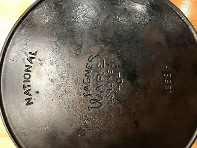 antique cast iron skillet National Wagner Ware Sidney number 7 heat ring 1358F