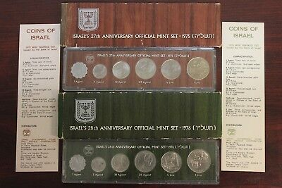 1975-1976 Isreal's 27th & 28th Anniversary Official Mint Sets
