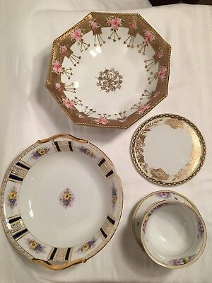 Vintage LOT 5 pc NIPPON Tray Dishes Dessert Bowls Marked Hand Painted Japan