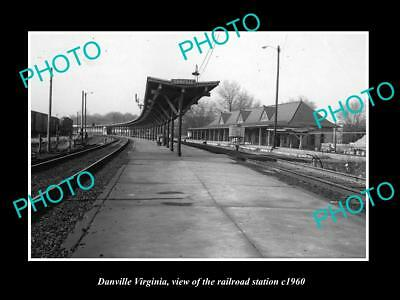 OLD LARGE HISTORIC PHOTO OF DANVILLE VIRGINIA, THE RAILROAD STATION c1960