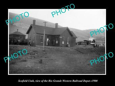 OLD LARGE HISTORIC PHOTO OF SCOFIELD UTAH, VIEW OF RAILROAD STATION c1900