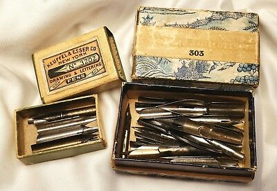 Antique Vintage Lot of 48 Fountain Pen Nibs & 2 Boxes Gillott's Easterbrook ect.